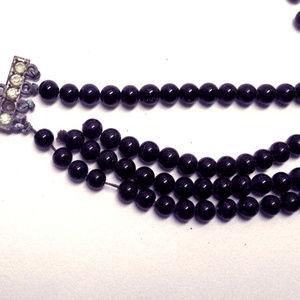 Art Deco Glass Beaded Choker Necklace Jewelry VTG